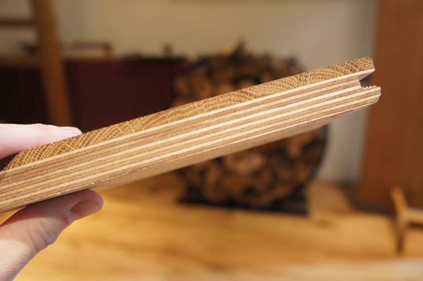 Engineered oak flooring profile showing wear layer and plyboard backing