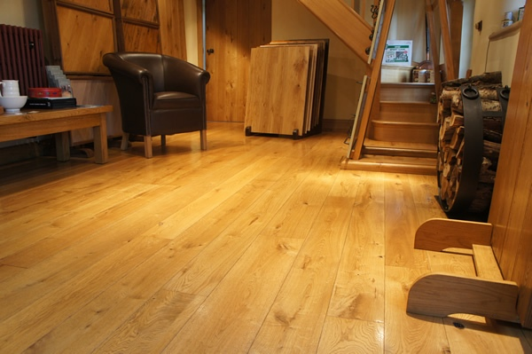 Solid oak flooring in the showroom